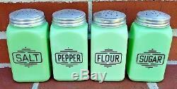 Vintage Mckee Jadite Jadeite Salt Pepper Flour Sugar Deco Badge Range Set