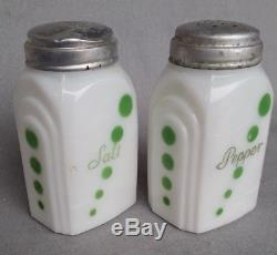 Vintage Mckee White With Green Dots Roman Arch Salt Pepper Shakers