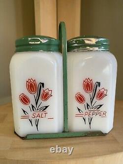 Vintage Milk Glass Range Shakers Salt And Pepper Red And Black Tulips withHolder