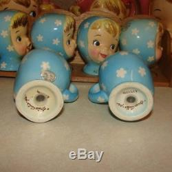 Vintage NAPCO MISS CUTIE PIE SALT AND PEPPER Shaker Girls Blue