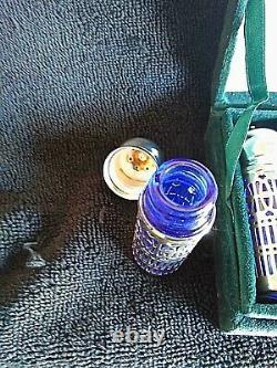Vintage Neiman Marcus Cobalt Blue Glass/Silver Plate Salt & Pepper Shakers (4)