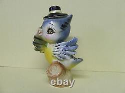 Vintage Norcrest Anthropomorphic Mr. &Mrs. Blue Bird withHats Salt & Pepper