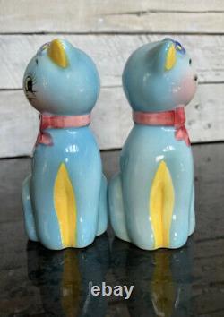 Vintage Norcrest Japan Anthropomorphic Blue Cats Salt And Pepper Shaker set