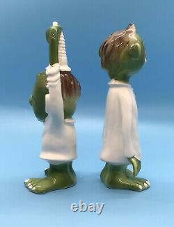 Vintage Norcrest Japan Gruesome Twosome Green Monsters Salt and Pepper Shakers