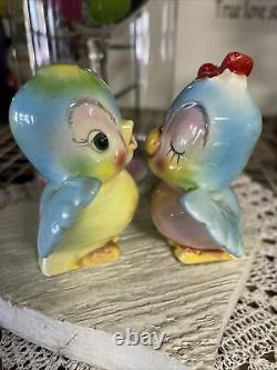 Vintage Norcrest Kissing Bluebirds Salt Pepper