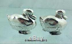 Vintage Novelty Silver Duck Salt And Pepper Pots Tiffany 1990