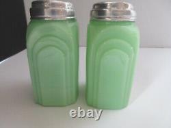 Vintage Original McKee Roman Arch Jadite Jadeite Salt & Pepper Range Shakers