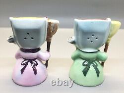 Vintage PY Japan Anthropomorphic Broom & Dust Pan Ladies Salt and Pepper Shakers