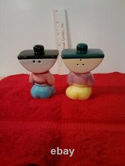 Vintage PY Japan Ink Well Head Boy Salt & Pepper Shakers Set Anthropomorphic