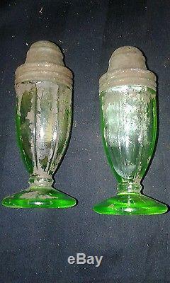 Vintage Pair of Vaseline Glass Salt & Pepper Shakers Rare Depression with tops