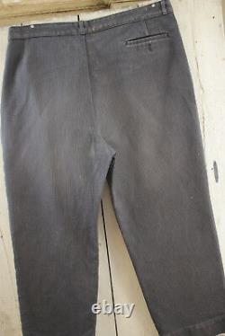 Vintage Pants French Work wear salt & pepper Chore trousers 42 inch waist 1930's