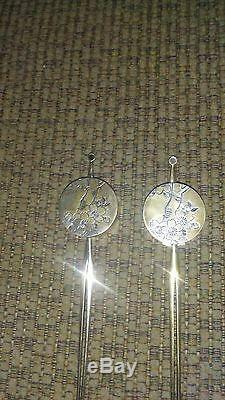 Vintage Rare Japanese 950 Sterling Salt And Pepper Hair Pin Set