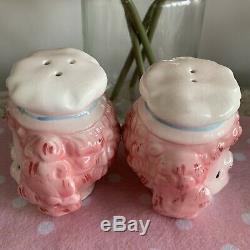 Vintage Rare Lefton Japan Pink Poodle Chef Salt And Pepper Shakers