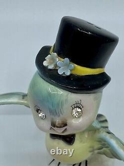 Vintage Rhinestone Eyes Lefton Bluebird Salt Pepper Hat Bonnet Anthropomorphic