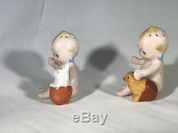 Vintage Rose O'Neill Porcelain Kewpie Salt & Pepper Shakers BUNNY & CHICK RARE