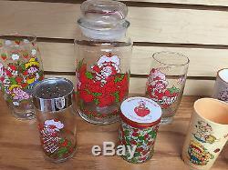 Vintage STRAWBERRY SHORTCAKE COLLECTION Cups Glasses Candles Plates Salt Pepper