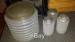 Vintage Sellers Clambroth Glass Canisters Jars Flour Salt Pepper With Lids