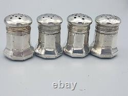 Vintage Set 4 Solid Sterling Silver Cartier Salt / Pepper Shakers