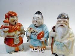 Vintage Set Seven Lucky Gods Japanese Toshikane Arita Porcelain Salt & Peppers