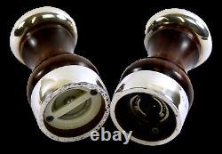 Vintage Sterling Silver Salt & Pepper Pots / GRINDERS Wooden