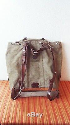 Vintage Swiss Army Military Backpack Rucksack 1957 CH Canvas Salt & Pepper 57