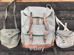 Vintage Swiss Army Military Backpack Rucksack 1960s Canvas Salt & Pepper Bag Lot