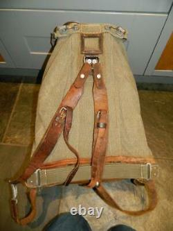 Vintage Swiss Army Military Backpack Rucksack Salt and Pepper Canvas Leather Bag
