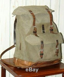 Vintage Swiss Army Military Backpack Rucksack Salt and Pepper Leather Canvas Bag