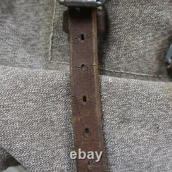 Vintage Swiss Army Military Leather Salt & Pepper Rucksack Backpack 60s