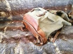 Vintage Swiss Army Military Mountain Backpack and BAG Salt Pepper Leather Canvas