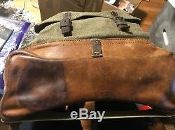 Vintage Swiss Army Rucksack Backpack Pack Bag Salt Pepper Canvas Military