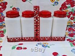 Vintage Tipp City Cherries Salt Pepper Flour Sugar With Original Rack