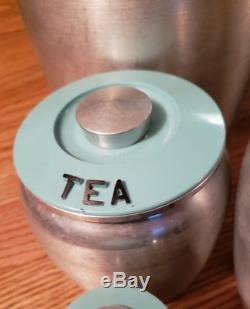 Vintage Turquoise Kromex Canister Set With Salt Pepper BONUS Made in USA