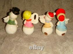 Vintage Ucagco Japan NOEL 4 Piece Snowman Salt and Pepper Shakers Original Box
