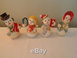 Vintage Ucagco Japan NOEL Snowman Salt & Pepper Shakers Christmas