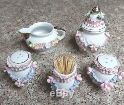 Vintage Victorian Salt &Pepper Shakers, Sugar & Creamer & Toothpick Holder Set