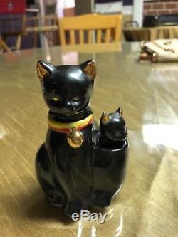 Vintage black cat nodder salt and pepper