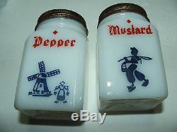 Vintage milk glass spice rack salt/pepper/ginger/cloves/cinnamon/nutmeg shakers