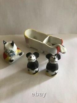 Vintage rare Mickey Mouse Porcelain German Salt / Pepper shakers 1930s