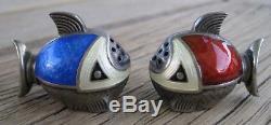 Vntg Mid-Century Scandinavian Sterling Silver ENAMEL FISH Salt & Pepper Shakers