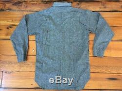 Vtg 1920s 30s Salt Pepper Chinstrap Chambray Workwear Metal Button Shirt 39 S