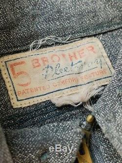 Vtg 1930s Quarter Zip Work Shirt 5 Brothers Salt And Pepper Stifel Sweet Orr