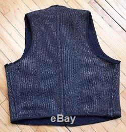 Vtg 1940's Browns Beach Jacket Salt & Pepper Workwear Vest Sz 40