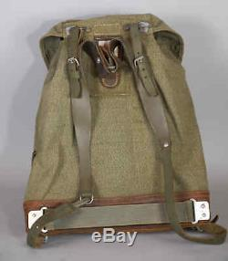 Vtg 1961 Swiss Army Military Rucksack Leather Canvas Salt & Pepper Backpack 60s