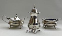 Vtg 1967 Charles S Green & Co Solid Silver Condiment Set Salt Pepper Mustard