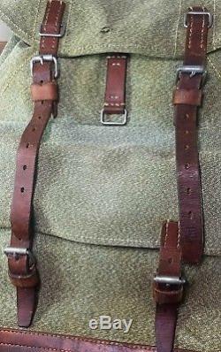 Vtg 1972 Swiss Army Military Canvas & Leather Salt & Pepper Backpack Rucksack