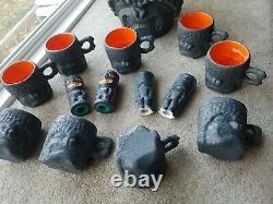 Vtg 40s 50s Ceramic Tiki Punch Bowl & Mug Set Salt Pepper Shakers Textured