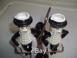 Vtg 6 MR. Peanut OIL & VINEGAR CRUETS & SALT PEPPER SHAKERS