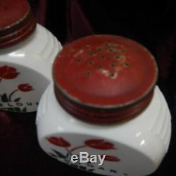 Vtg Anchor Hocking Vitrock Red Tulip Grease, Sugar, Flour, Pepper, and Salt Jars