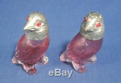Vtg Antique Cranberry Glass Salt and Pepper Shakers Birds with Silverplated Heads